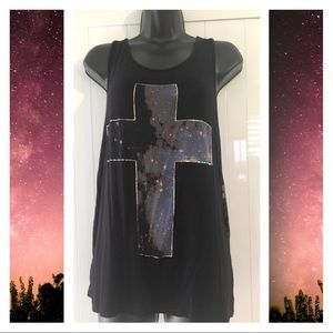 🔴3x$10▪️Galaxy Cross Tank Top